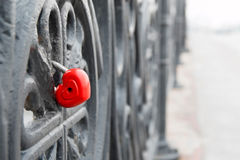 Red heart shaped lock on grey bridge. Love concept. Red heart shaped lock on grey bridge. Romance love concept Royalty Free Stock Images