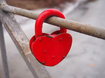 Red Heart-Shaped Lock Royalty Free Stock Photography