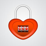Red heart shaped lock Royalty Free Stock Image