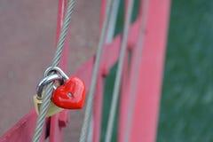 Red heart shaped locket Stock Photo