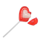 Red heart shaped lollipop Stock Photos