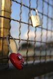 Red heart-shaped love padlocks Royalty Free Stock Photos