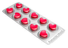 Red heart shaped love pills Royalty Free Stock Photo