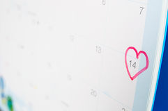 A red heart-shaped mark on fourteenth Stock Image