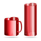 Red heart valentines mug and glass. Red heart shaped mug and glass illustration stock illustration