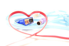 Red Heart Shaped Network Cable Royalty Free Stock Image
