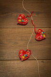 Red heart-shaped ornaments Stock Images