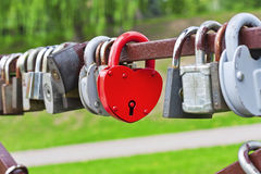 Red heart-shaped padlock Royalty Free Stock Photo
