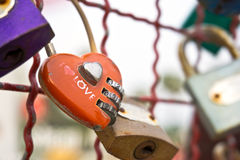 Red heart-shaped padlock Royalty Free Stock Image