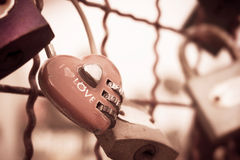 Red heart-shaped padlock Stock Photography