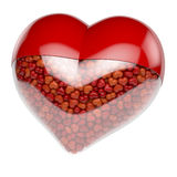 Red heart shaped pill, capsule filled with small tiny hearts as medicine. 3d rendering isolated on white background royalty free stock photography