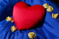 Red heart shaped pillow Royalty Free Stock Image