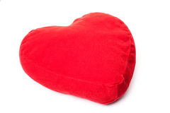 Red heart shaped pillow. All on white background Royalty Free Stock Photos