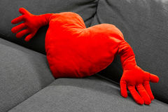 Red heart shaped pillow Stock Images