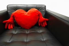 Red heart shaped pillow Royalty Free Stock Photo
