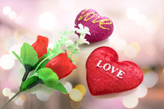 Red heart shaped and red roses. Stock Image