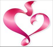 Red Heart-shaped Ribbon Royalty Free Stock Photography