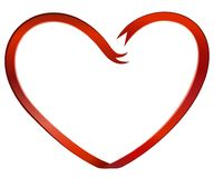 Red heart shaped ribbon Royalty Free Stock Images