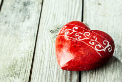 Red heart shaped stone Stock Photos