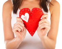Red heart-shaped toy Stock Photos