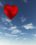 Red Heart-Shaped Valentine Balloon. Red heart-shaped Valentine's Day balloon floating in a blue sky, 3d digitally rendered illustration Stock Image