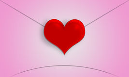 Red heart-shaped Valentine's Day love letter. Royalty Free Stock Images