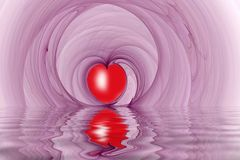 Red heart shapes fractal reflected Royalty Free Stock Images