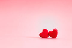Red Heart shapes in love concept for valentines day with sweet a Stock Photos