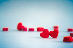 Red Heart shapes in love concept for valentines day with sweet a Stock Photography