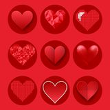 Red heart sharp vector pink color card beautiful celebrate bright emoticon holiday art decoration. Romance shape design love amour Stock Photos