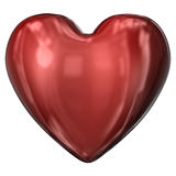 Red heart. Shiny red heart isolated on white Stock Photos
