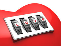 Red heart with shiny metal code padlock Stock Images