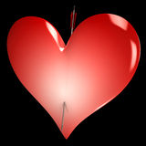 Red Heart Shows Valentines Day Lovers Love Royalty Free Stock Photography