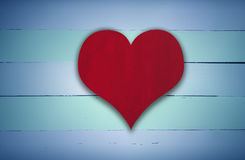 Red heart sign on blue and green retro wood Royalty Free Stock Photography