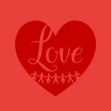 Red heart sign. Man and woman sign on shape heart red background Royalty Free Stock Photo