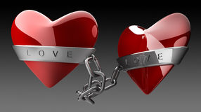 Red heart and silver chain. Isolated on black 3d render Royalty Free Stock Image