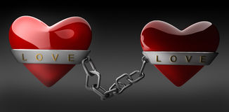 Red heart and silver chain. On black 3d render Stock Image
