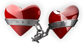 Red heart and silver chain. Isolated on white 3d render Stock Photos