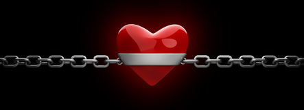 Red heart and silver chain. Isolated on black 3d render Stock Photos