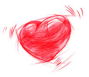 Red Heart sketch, isolated on white Royalty Free Stock Photography