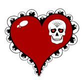 Red heart with skull motif  on white Royalty Free Stock Photography