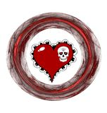 Red heart, skull and plasmatic ring Royalty Free Stock Images