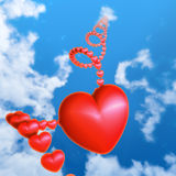 Red heart in the sky Royalty Free Stock Image