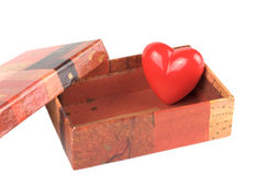 Red heart in the small box for Valentine day. Red heart in the small box for Saint Valentine\'s day Stock Photo