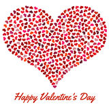 Red heart from small hearts. Valentines Day background with heart on a white background Stock Image