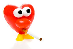 Red heart smoking cigarette Royalty Free Stock Images