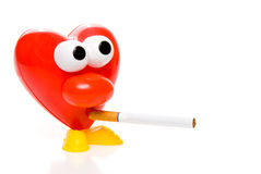 Red Heart Smoking Cigarette Stock Photography
