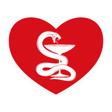 Red heart and snake. Royalty Free Stock Image