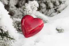 Red heart in the snow Stock Photography