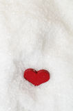 Red Heart in Snow From Above Royalty Free Stock Photos
